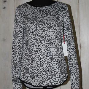 ELLE Floral Long Sleeve Black and Grey Top